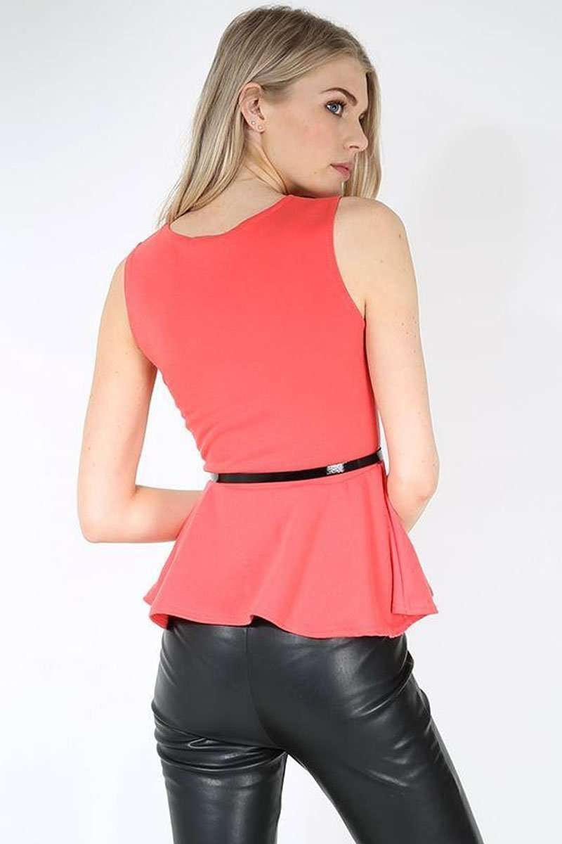 Carley Sleeveless Belted Peplum Top - bejealous-com