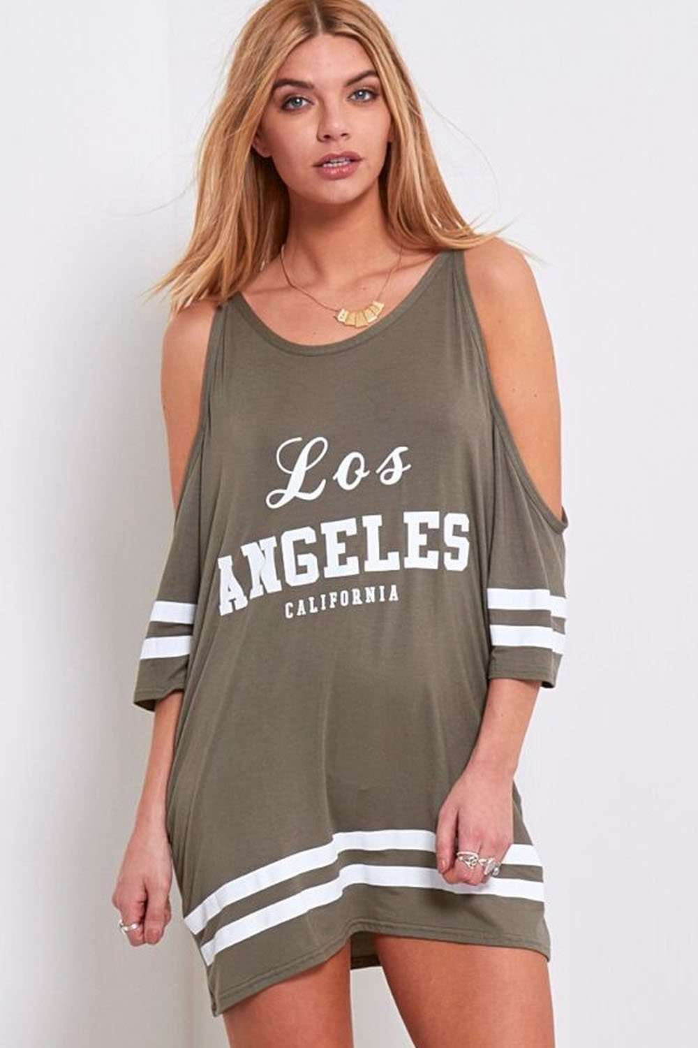 Carlie Los Angeles Cold Shoulder Baggy Tshirt - bejealous-com