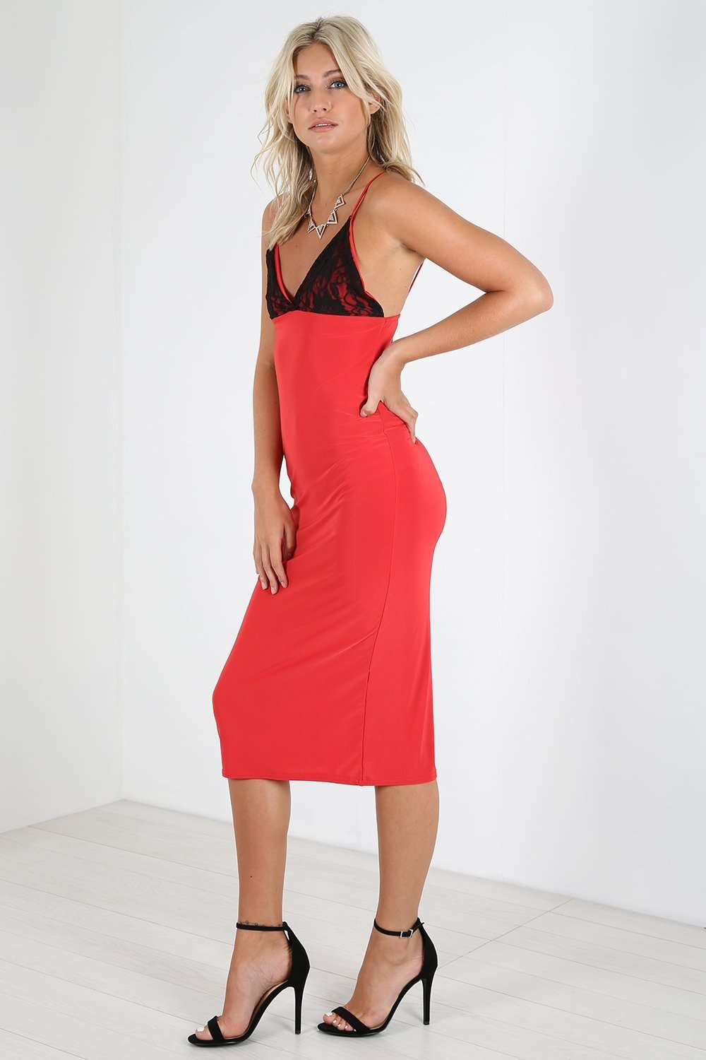 Carolina Strappy Plunge Neck Midi Bodycon Dress - bejealous-com