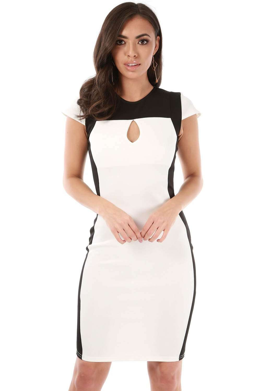 Caroline Monochrome Panelled Bodycon Dress - bejealous-com