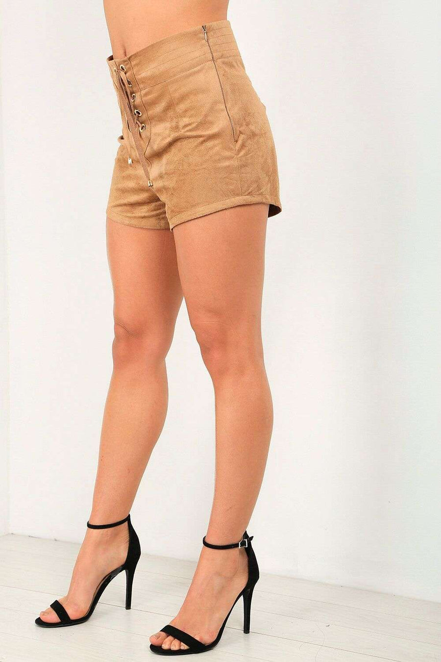 Carrah High Waist Faux Suede Lace Up Shorts - bejealous-com