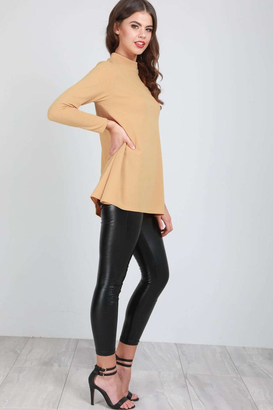 Carrie High Neck Long Sleeve Swing Top - bejealous-com