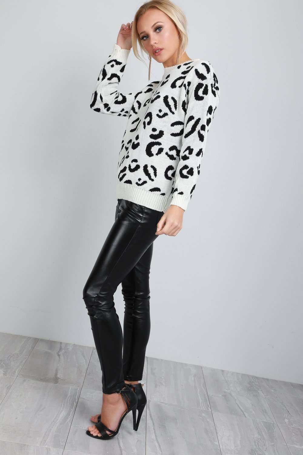 Carrie Long Sleeve Leopard Print Knitted Jumper - bejealous-com