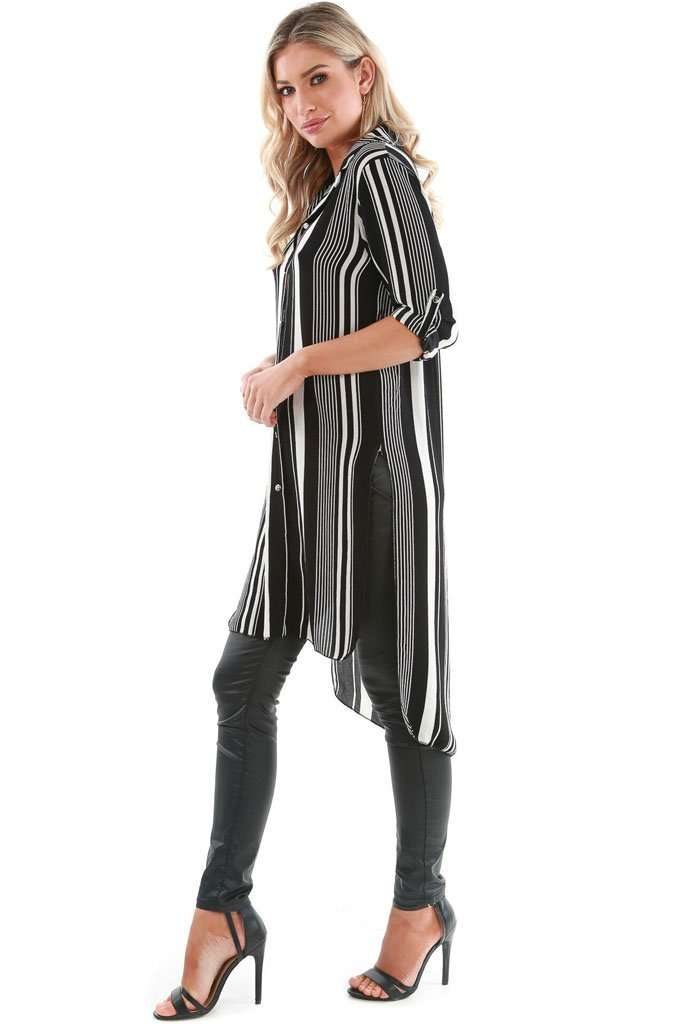 Carrie Monochrome Striped Shirt Dress - bejealous-com