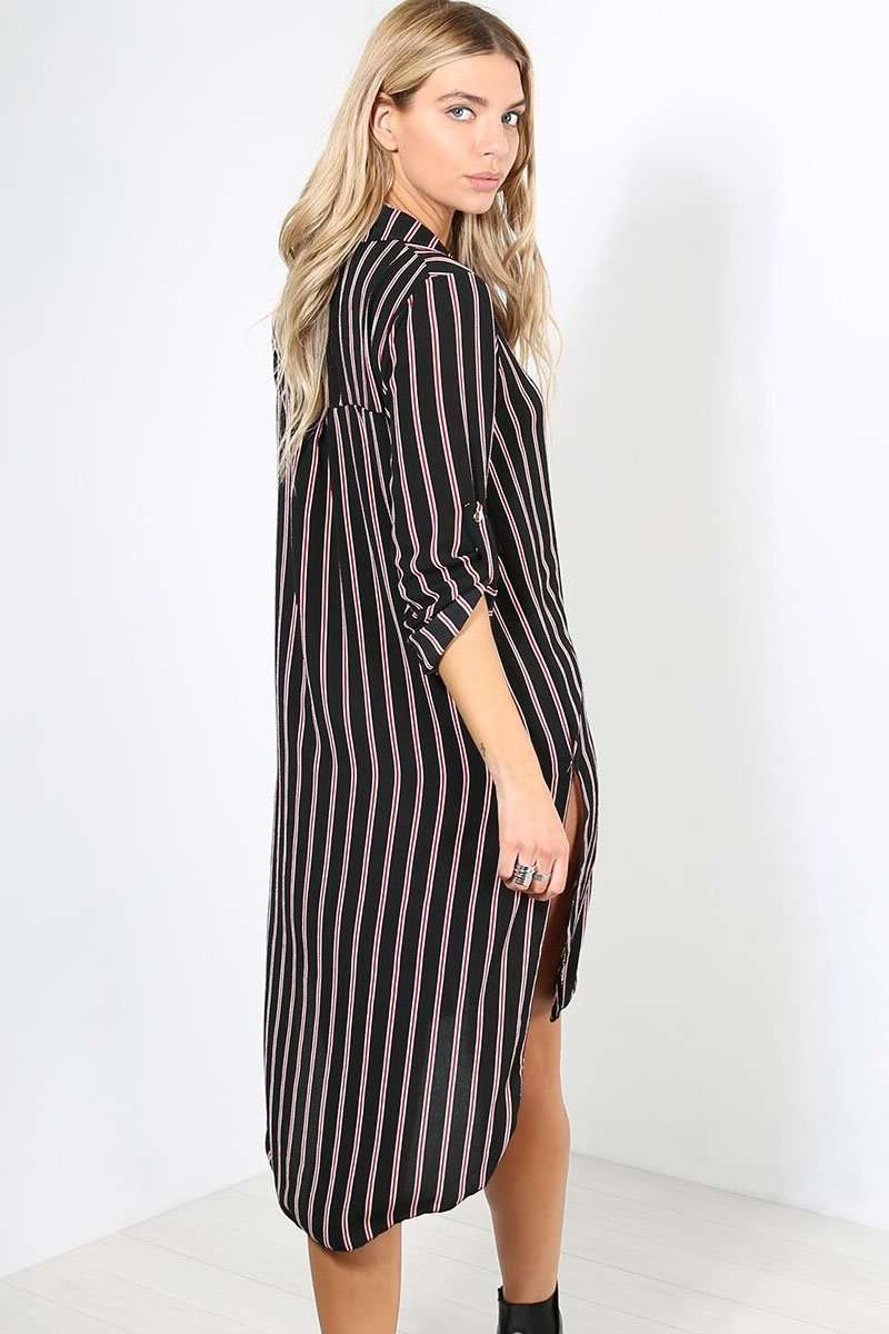 Carrie Oversized Striped Chiffon Shirt Dress - bejealous-com