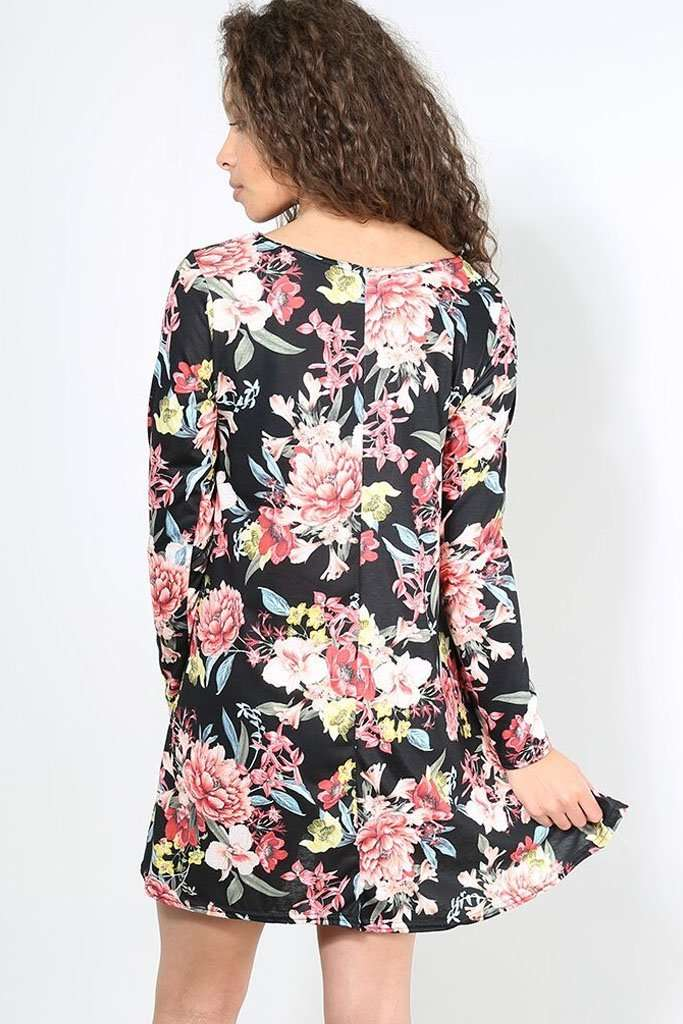 Casey Long Sleeve Floral Mini Skater Dress - bejealous-com