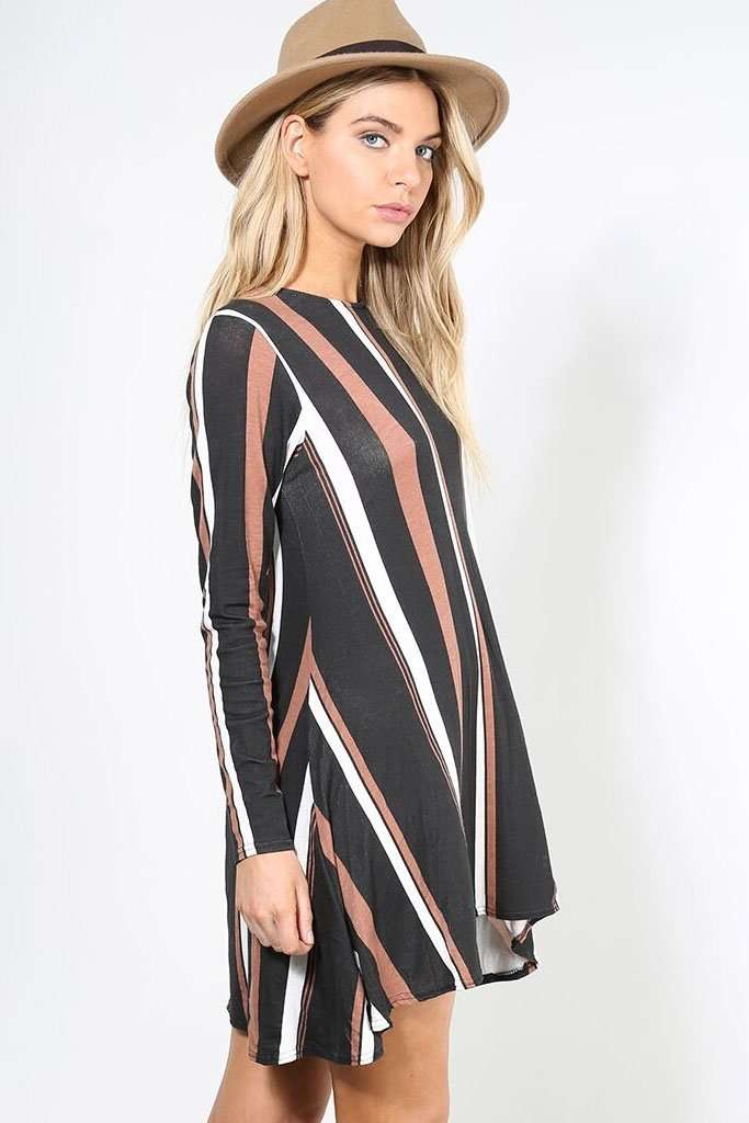 Casey Long Sleeve Striped Mini Skater Dress - bejealous-com