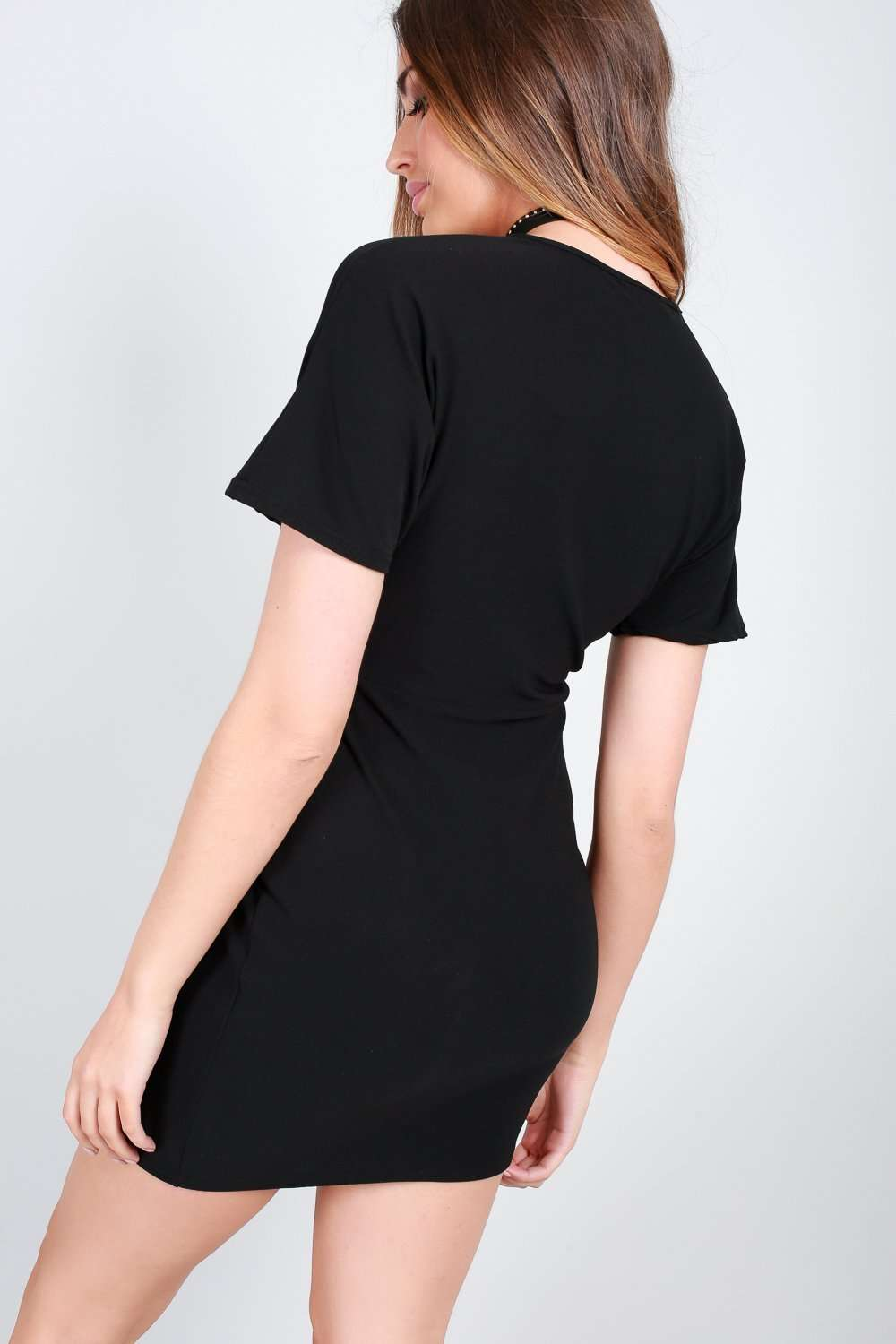 Casie Black Vneck Short Sleeve Mini Dress - bejealous-com