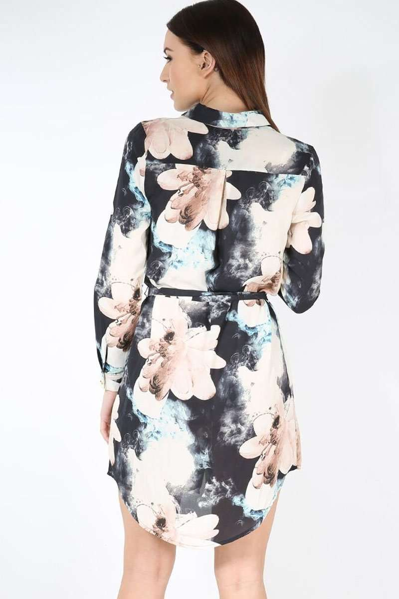 Casie Long Sleeve Floral Shirt Dress - bejealous-com