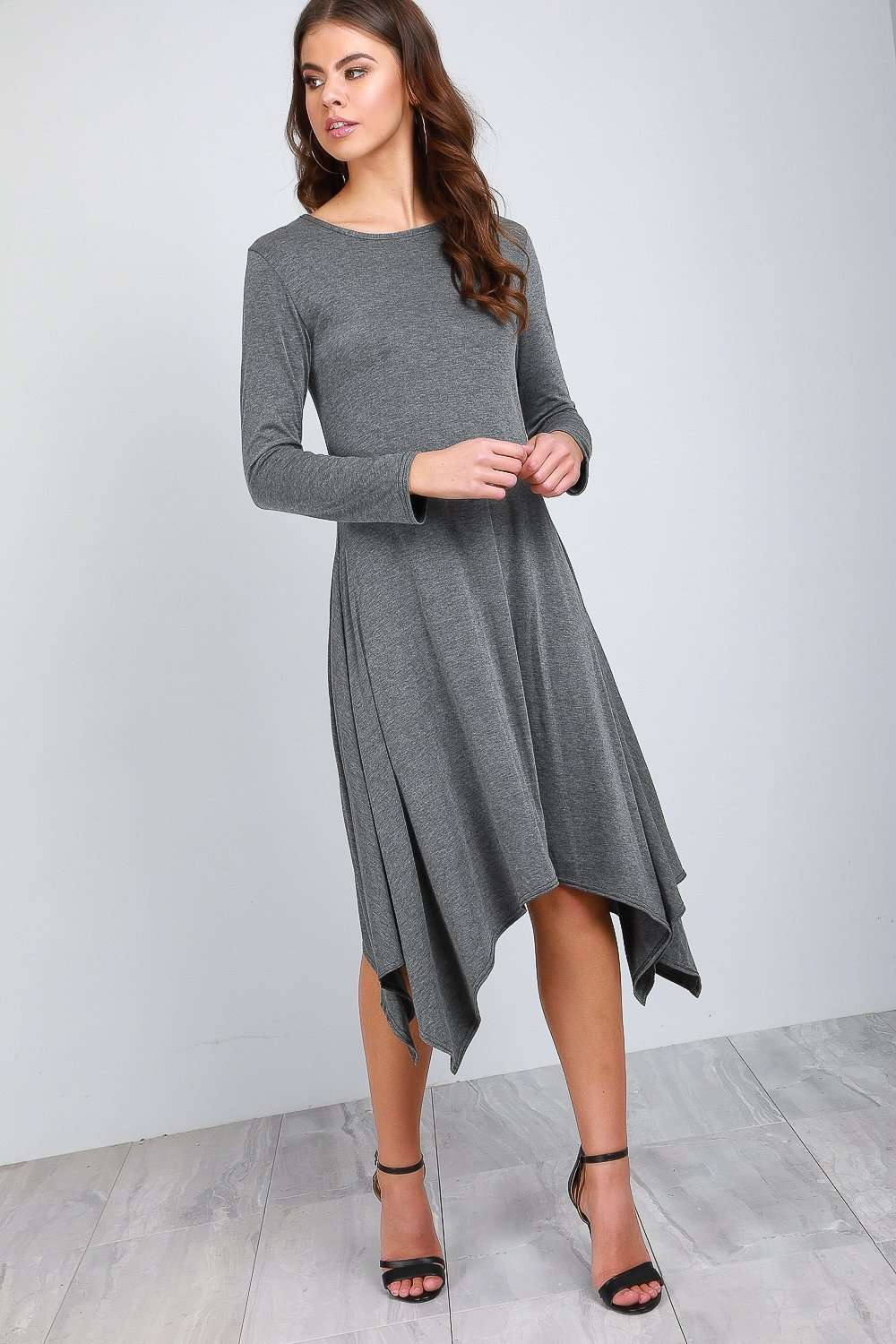 Long Sleeve Hanky Hem Black Midi Dress - bejealous-com