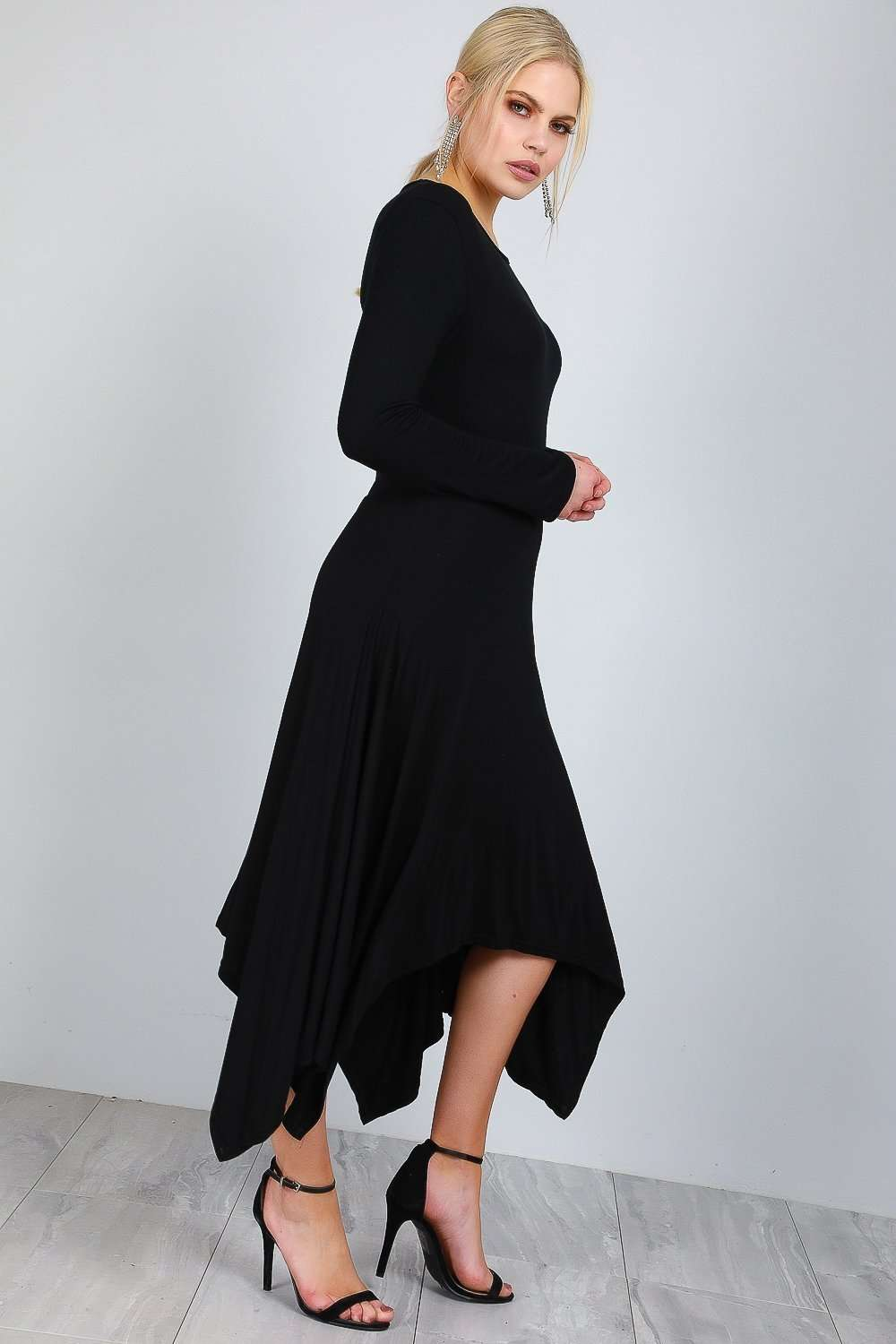 Long Sleeve Hanky Hem Navy Midi Dress - bejealous-com