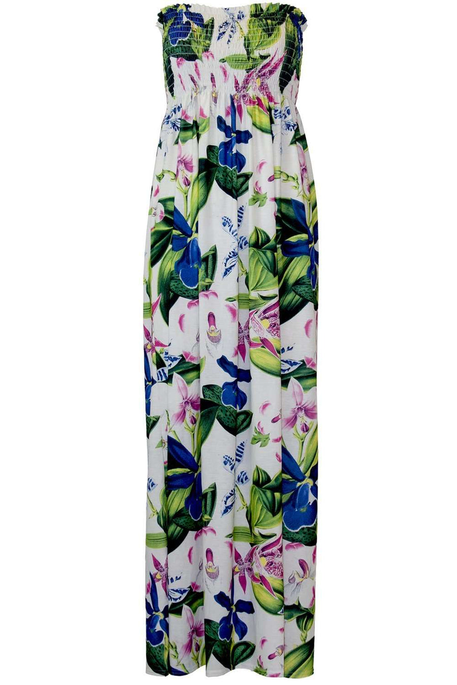 Cassadie Sheering Strapless Floral Maxi Dress - bejealous-com