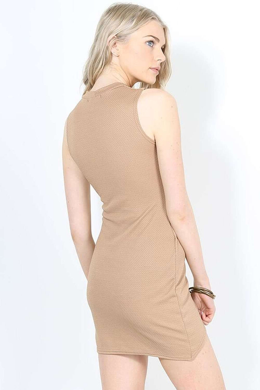 Cassandra Beige Sleeveless Mini Wrap Dress - bejealous-com