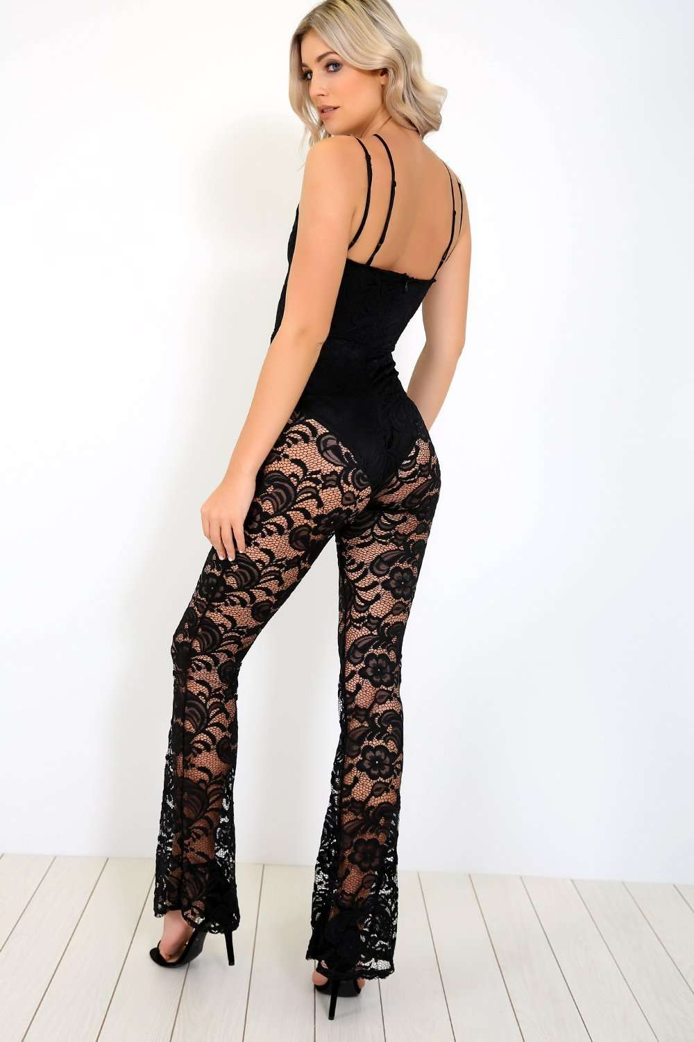 Cassie Strappy Harness Black Lace Jumpsuit - bejealous-com