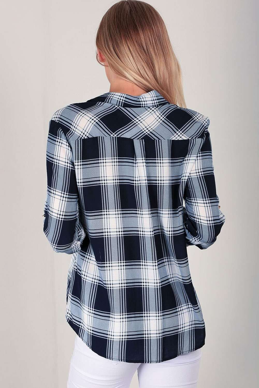 Ceris Badged Blue Tartan Shirt - bejealous-com