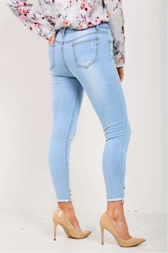 Charli Light Blue Beaded Skinny Jeans - bejealous-com