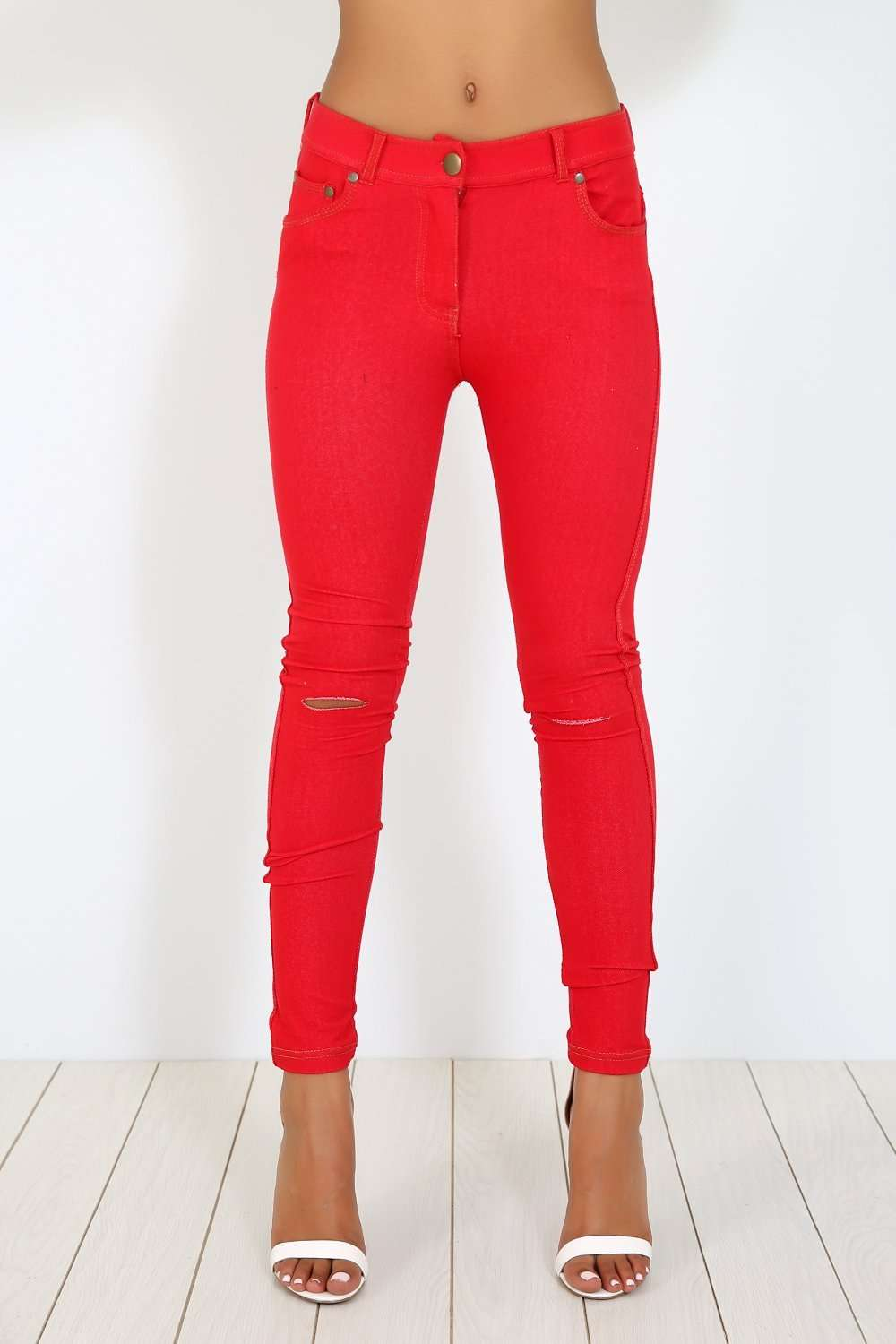 Chesca Ripped Knee Denim Skinny Jeggings - bejealous-com