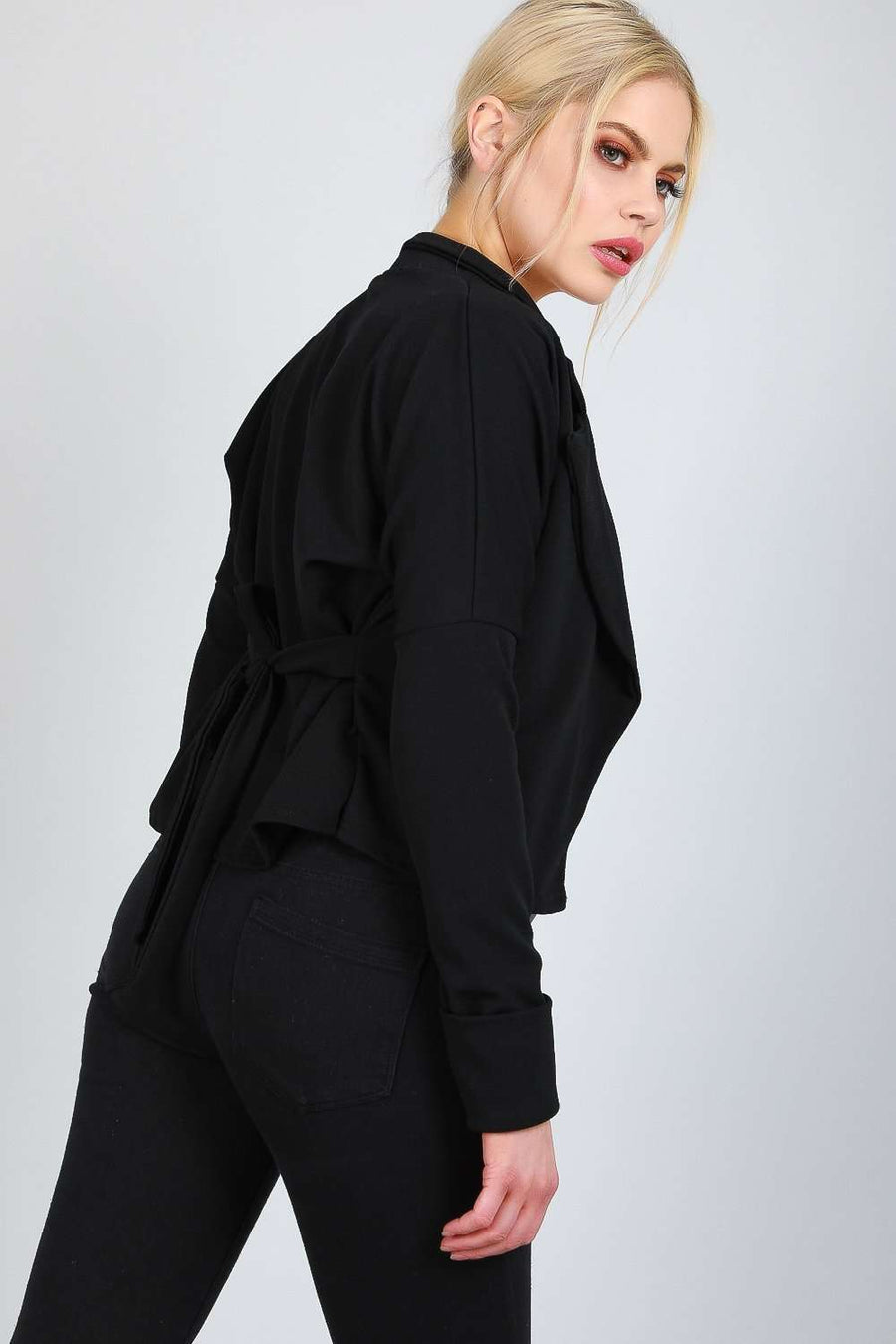 Cheslie Long Sleeve Cropped Belted Jacket - bejealous-com