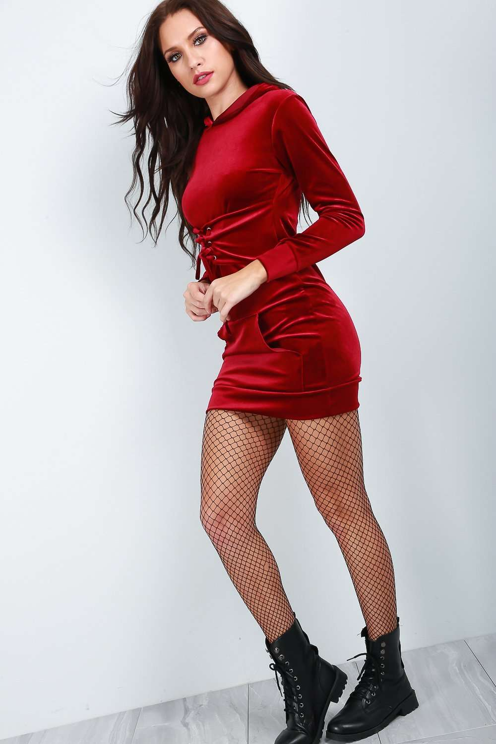 Faux Velvet Rose Lace Up Sweater Dress - bejealous-com