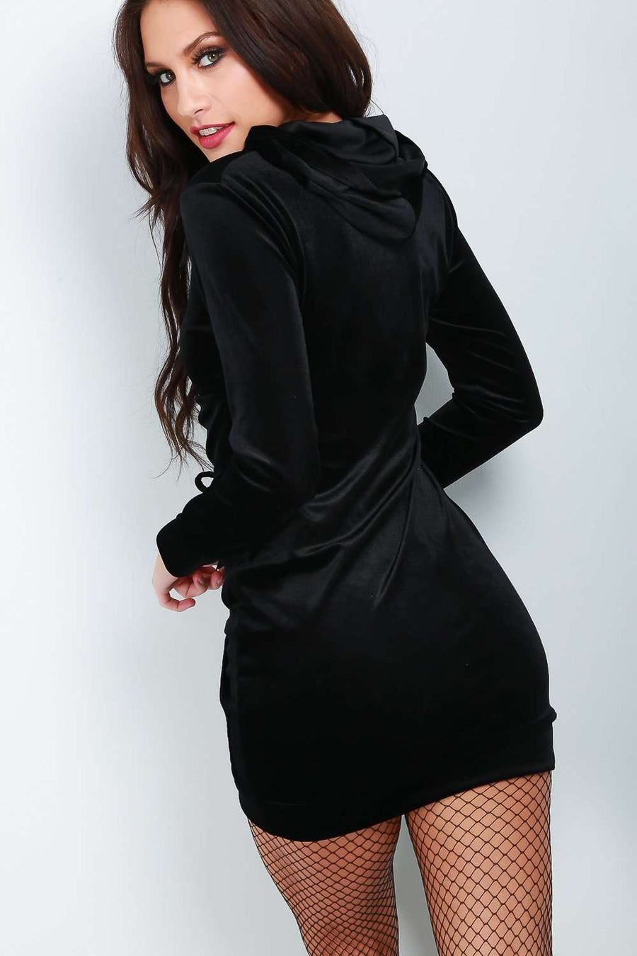 Faux Velvet Black Lace Up Sweater Dress - bejealous-com