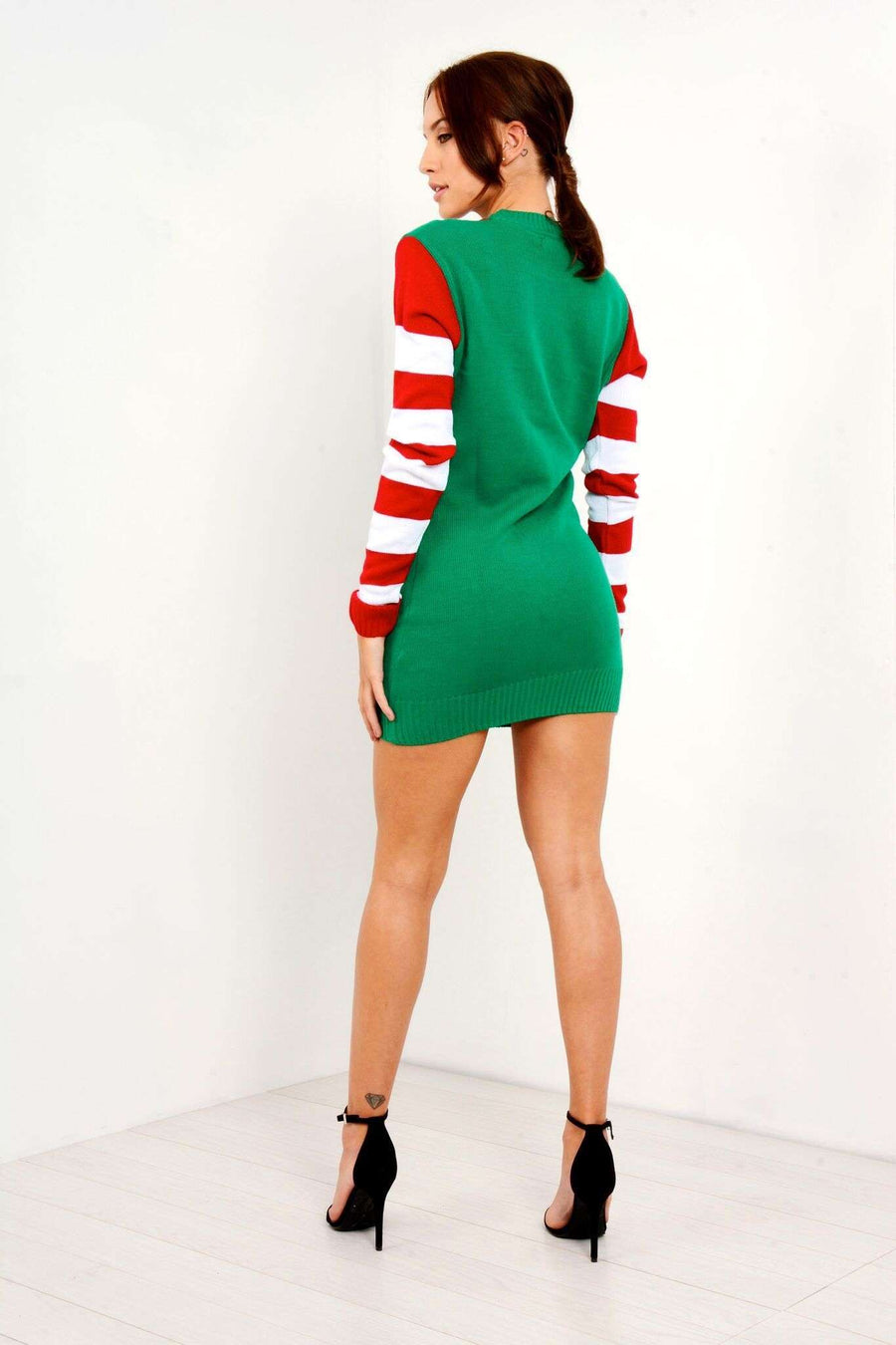 Christmas Elf Costume Knitted Jumper Dress - bejealous-com