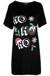 Christmas Slogan Print Baggy T-shirt Dress - bejealous-com