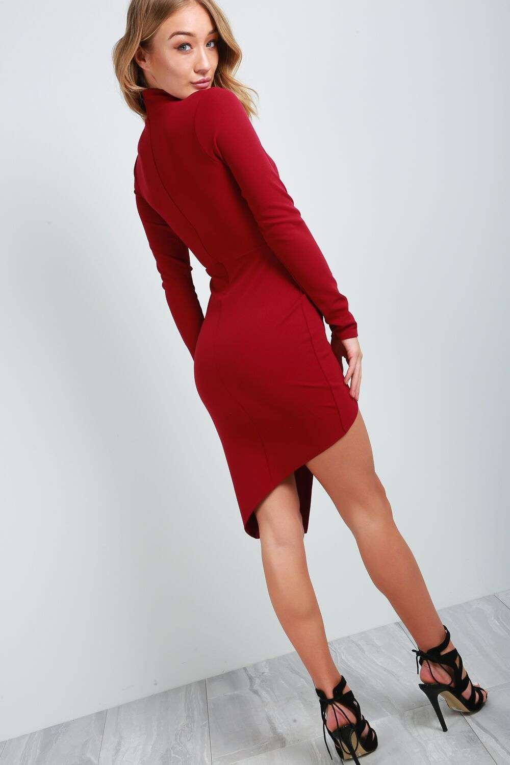 Claira Long Sleeve Asymmetric Mini Dress - bejealous-com