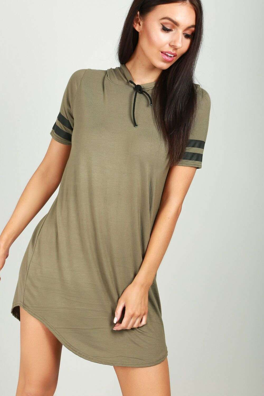 Clara Striped Sleeve Hooded T-Shirt Dress - bejealous-com