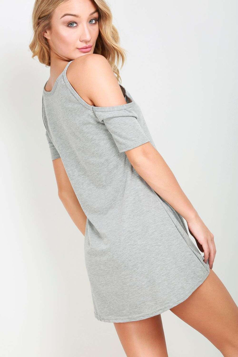 Corina Cold Shoulder Basic Jersey Tshirt Dress - bejealous-com