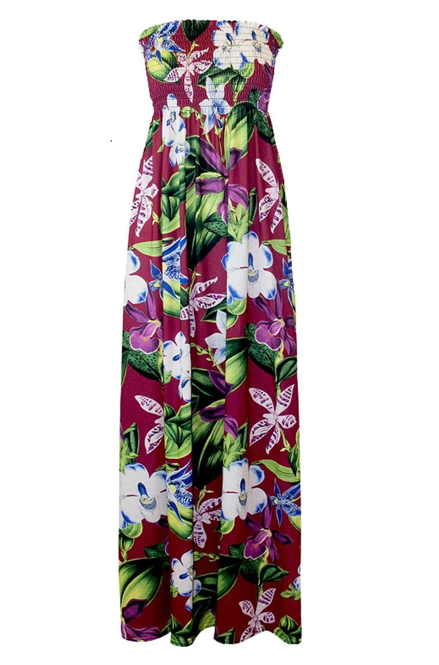 Cream Tropical Print Strapless Maxi Dress - bejealous-com