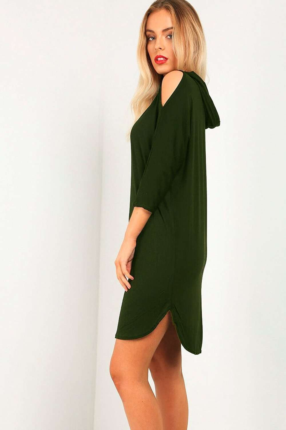 Daliah Cold Shoulder Basic Sweater Dress - bejealous-com