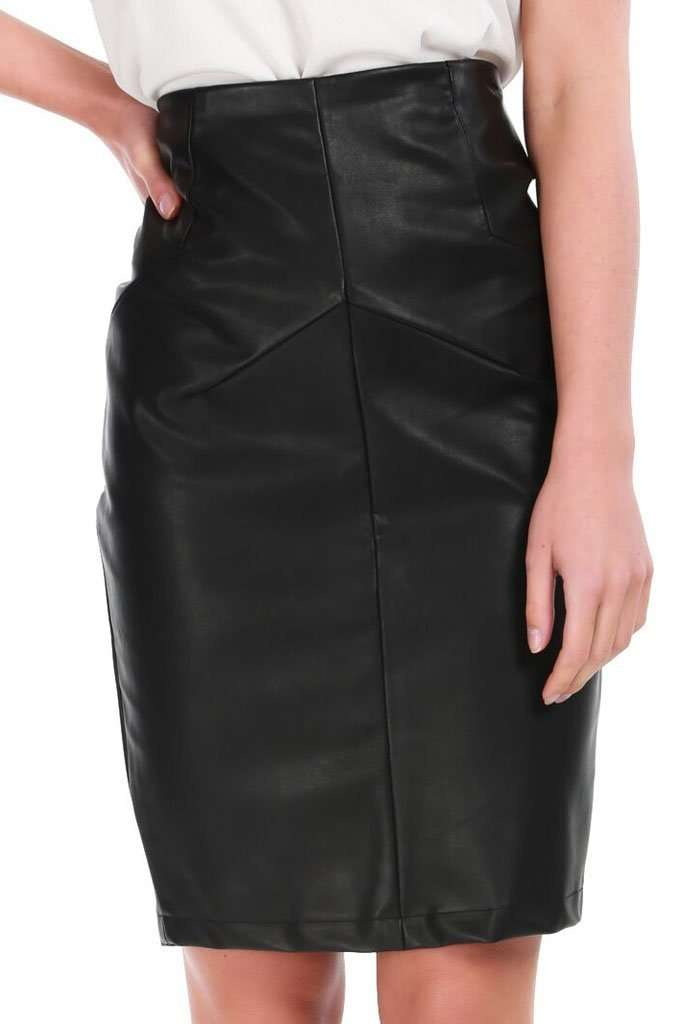 Dani Black High Waist Faux Leather Midi Skirt - bejealous-com