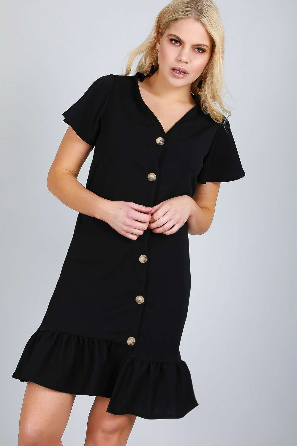 Dani Button Through Frill Sleeve Mini Dress - bejealous-com