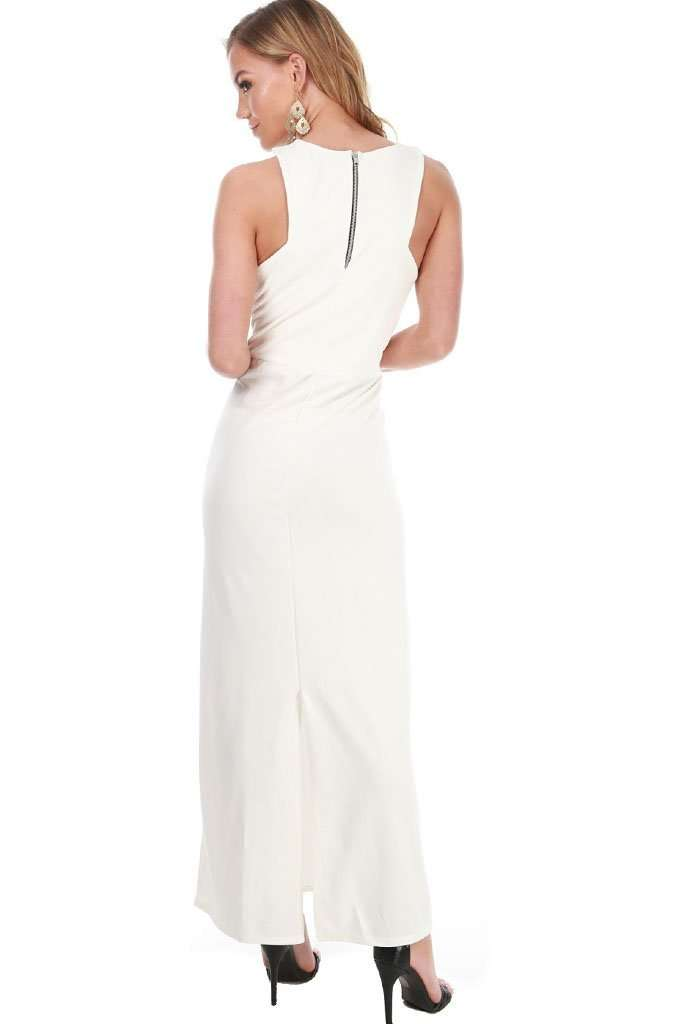 Danica Halterneck Ruched Monochrome Maxi Dress - bejealous-com