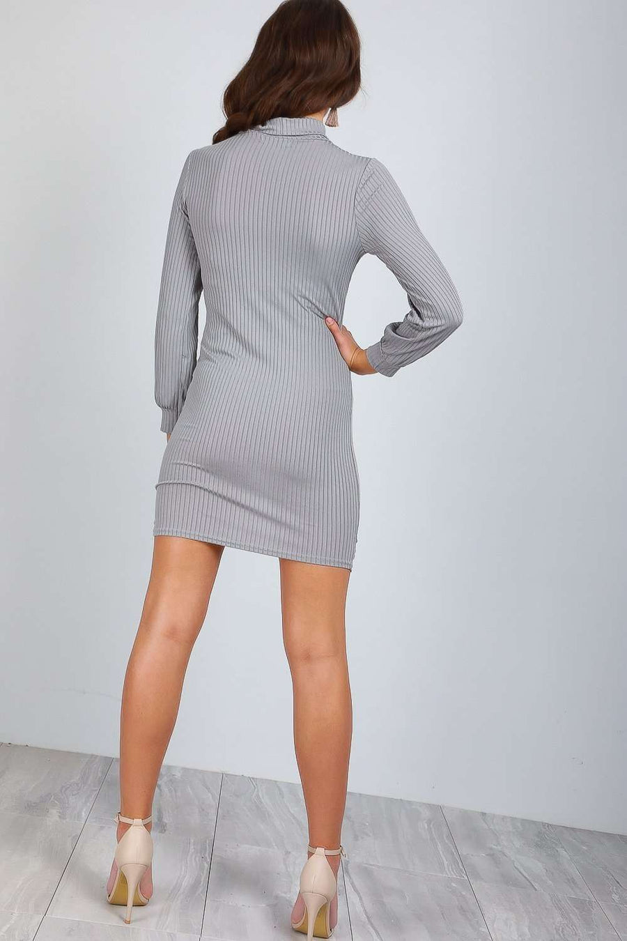 Danica Long Sleeve Ribbed Bodycon Mini Dress - bejealous-com
