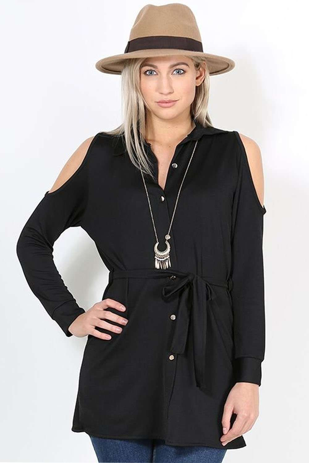 Daniella Black Cold Shoulder Belted Shirt - bejealous-com