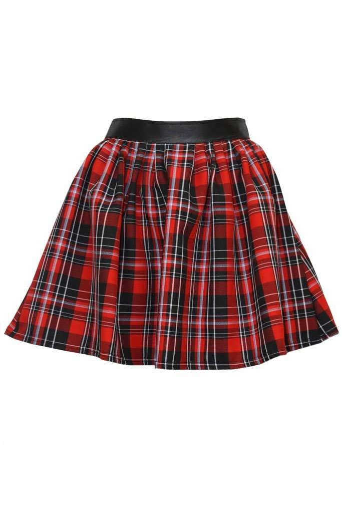 Danika High Waist Red Tartan Skater Skirt - bejealous-com