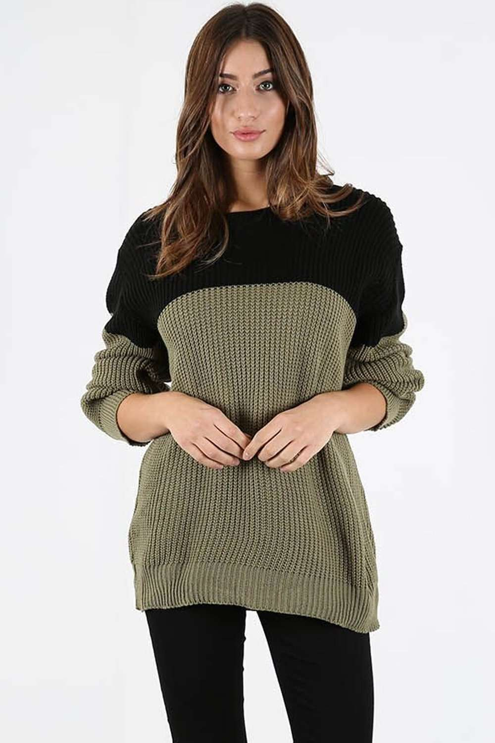 Darci Colour Block Baggy  Knitted Jumper - bejealous-com
