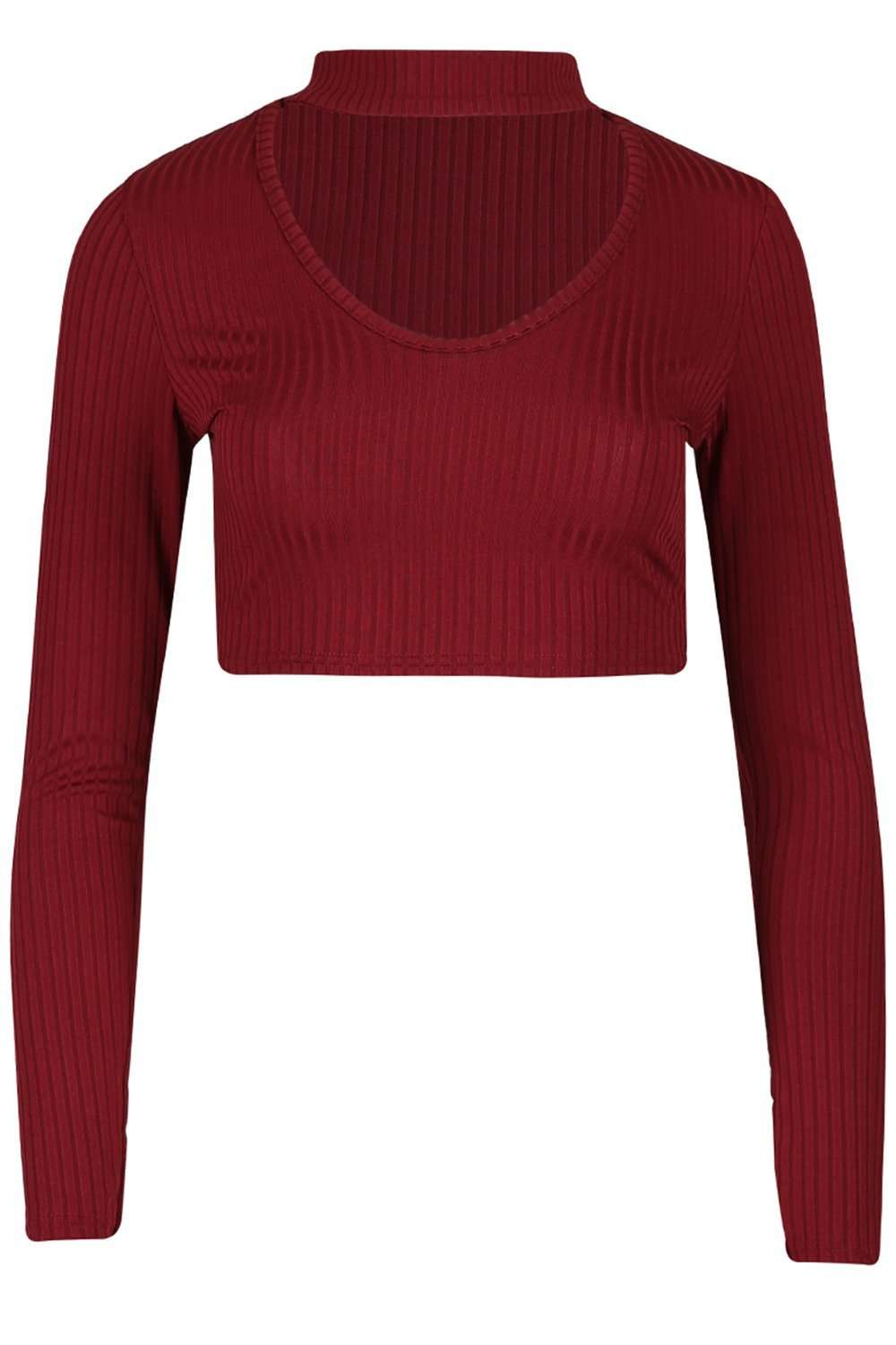 Darci Long Sleeve Choker Neck Crop Top - bejealous-com