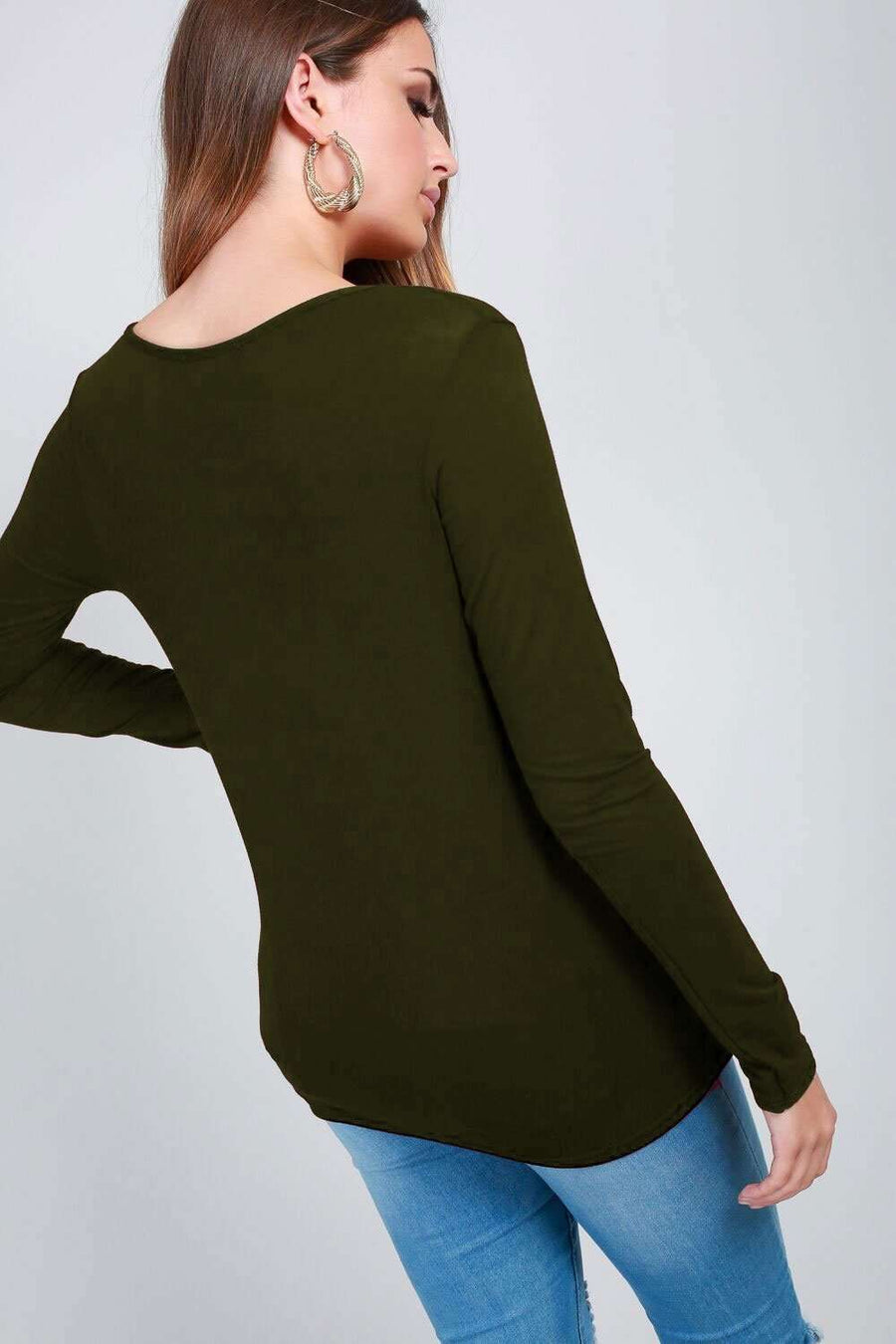 Darcy Long Sleeve Basic Jersey Top - bejealous-com