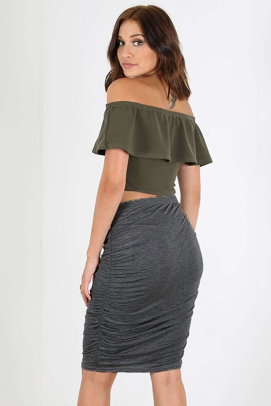 Dark Grey High Waist Ruched Basic Midi Skirt - bejealous-com
