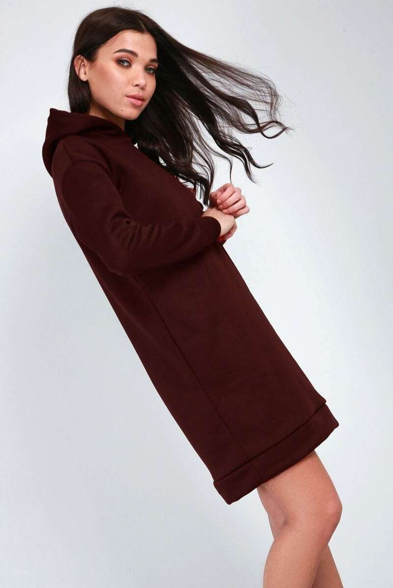 Dark Grey Oversized Hooded Sweatshirt Mini Dress - bejealous-com