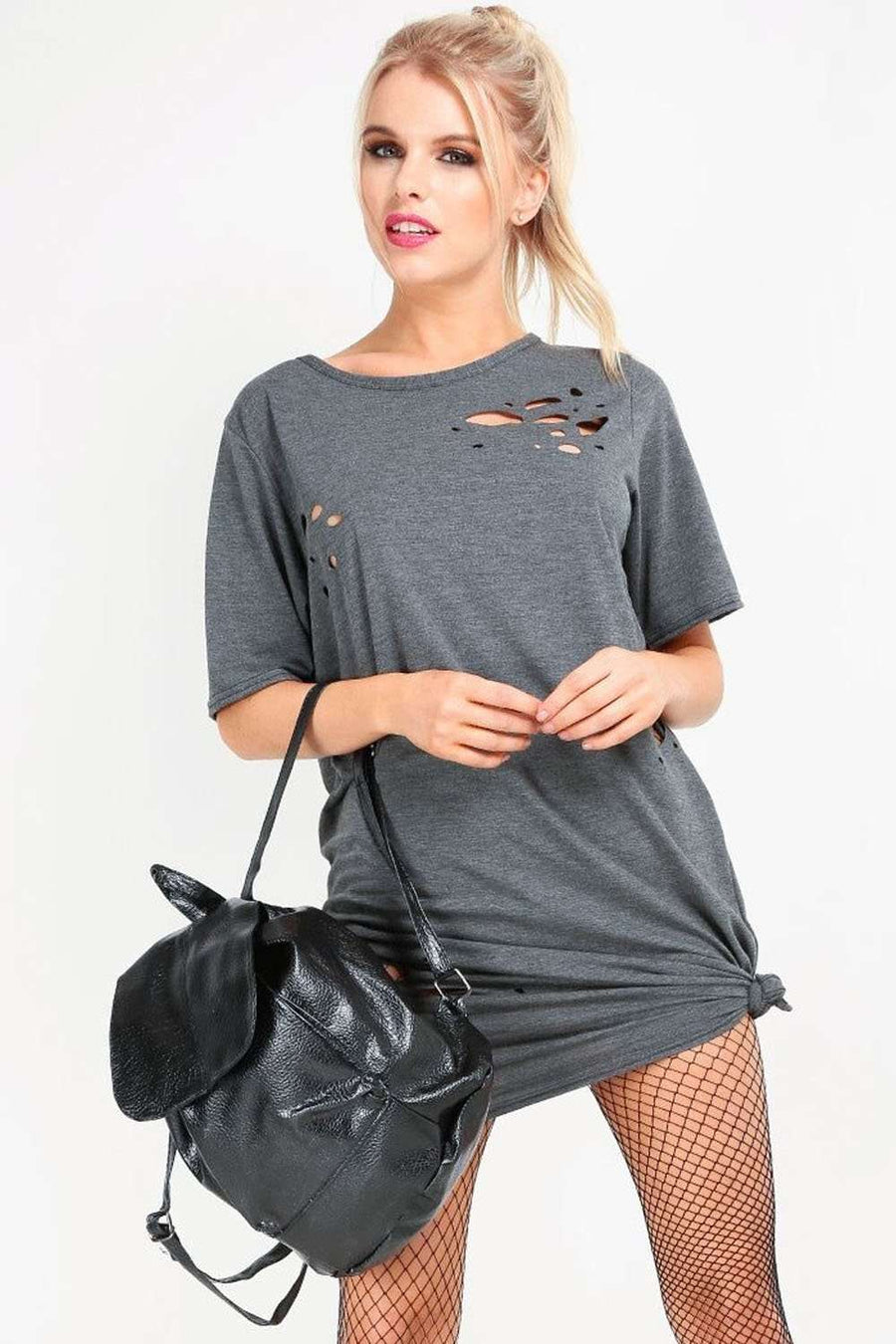 Dark Grey Ripped Oversized Basic Tshirt Dress - bejealous-com