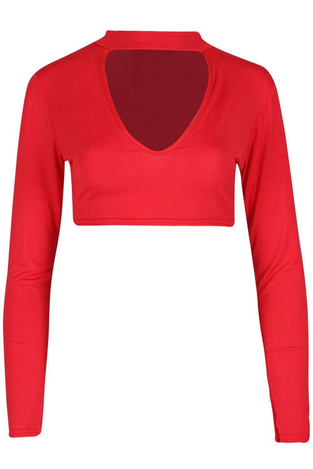 Dassia Long Sleeve Choker Neck Crop Top - bejealous-com
