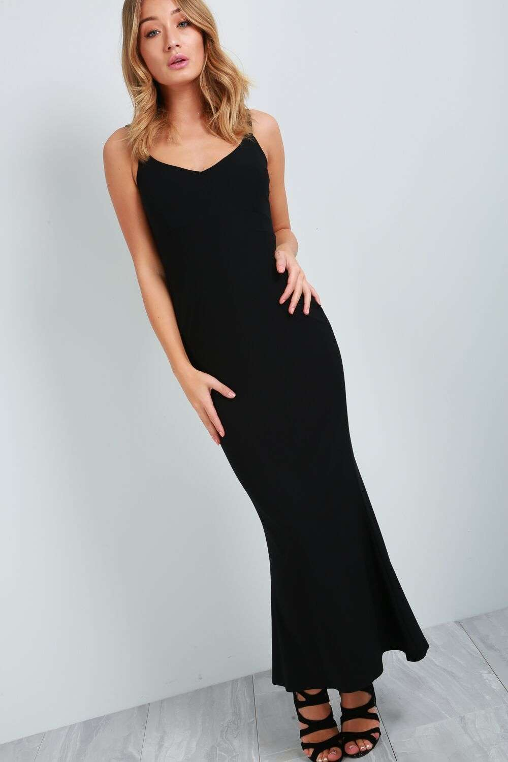 Strappy Racer Back Bodycon Fishtail Maxi Dress - bejealous-com