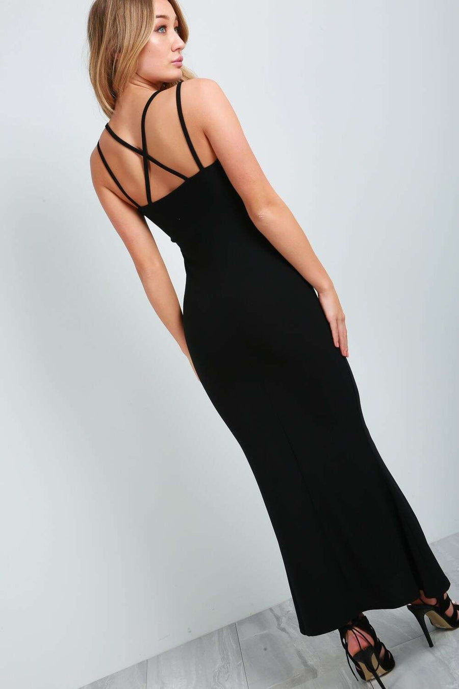 Diana Strappy Back Fishtail Maxi Dress - bejealous-com