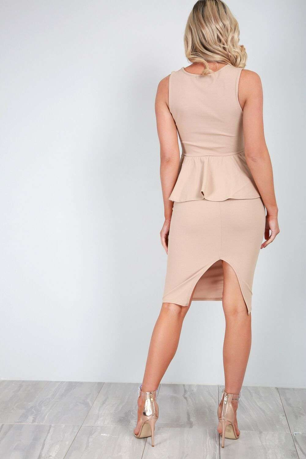 Dusty Pink Square Neck Peplum Frill Bodycon Dress - bejealous-com
