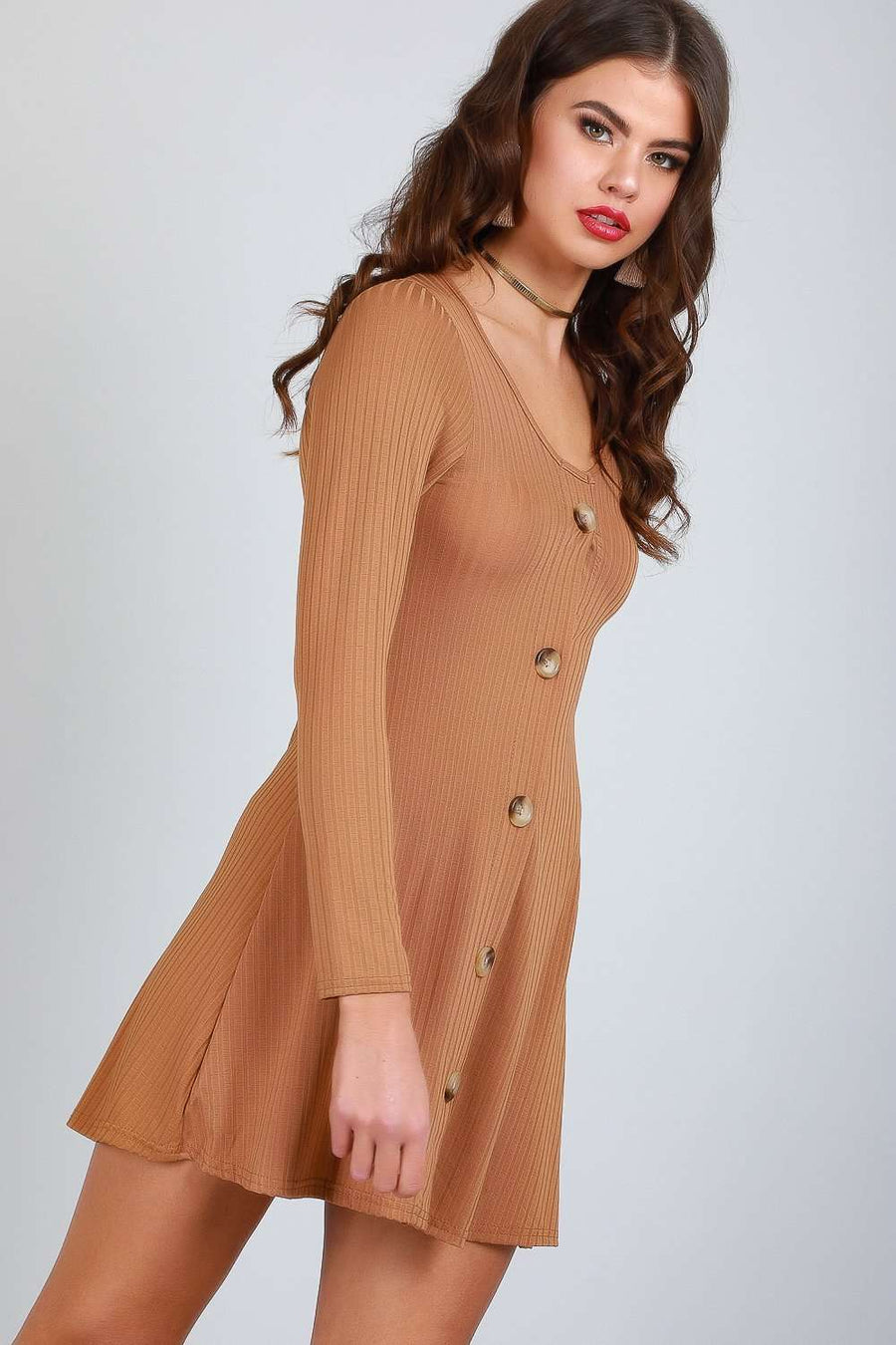 Eli Long Sleeve Button Through Mini Dress - bejealous-com