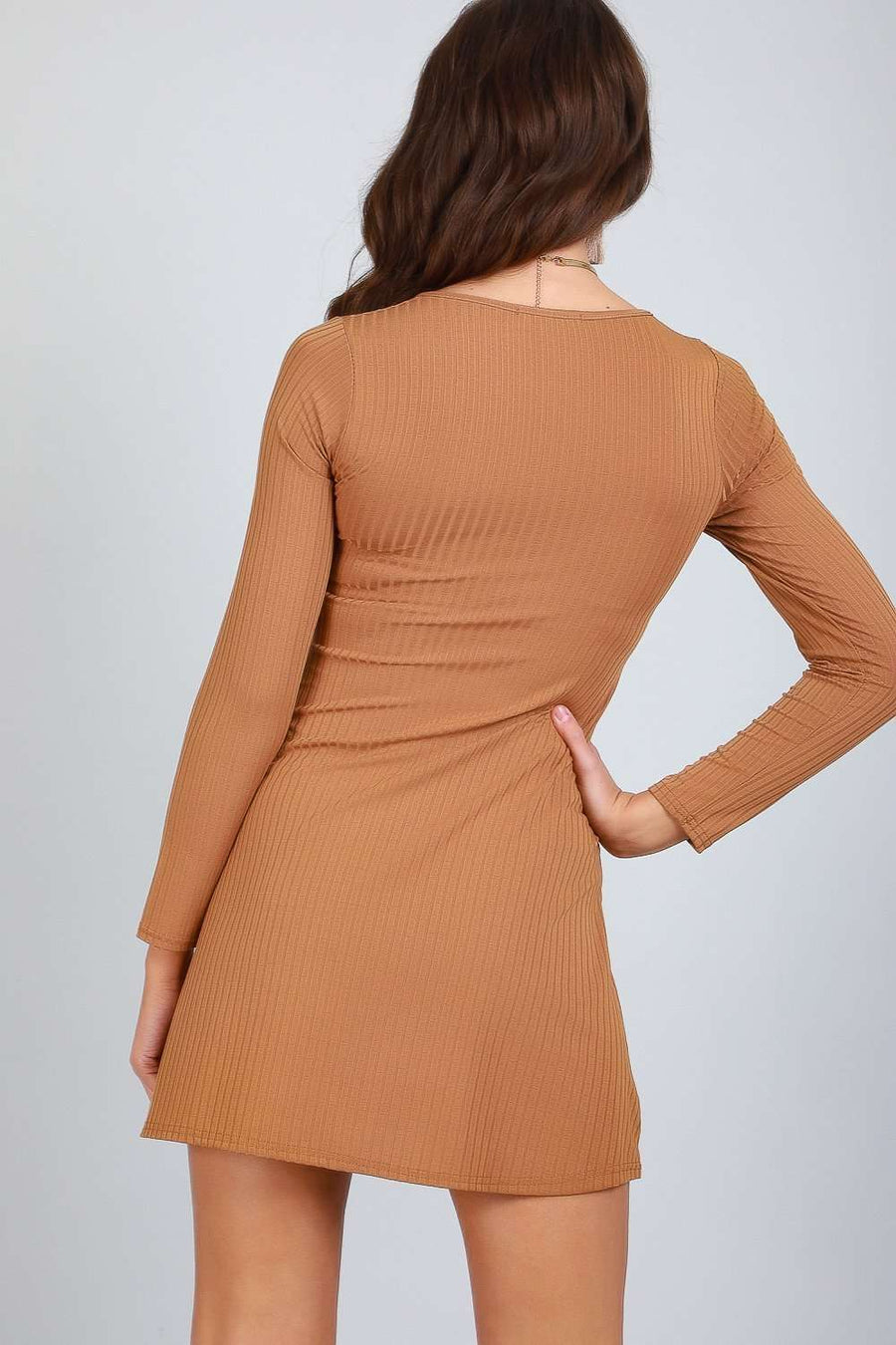 Eli Long Sleeve Button Through Swing Dress - bejealous-com