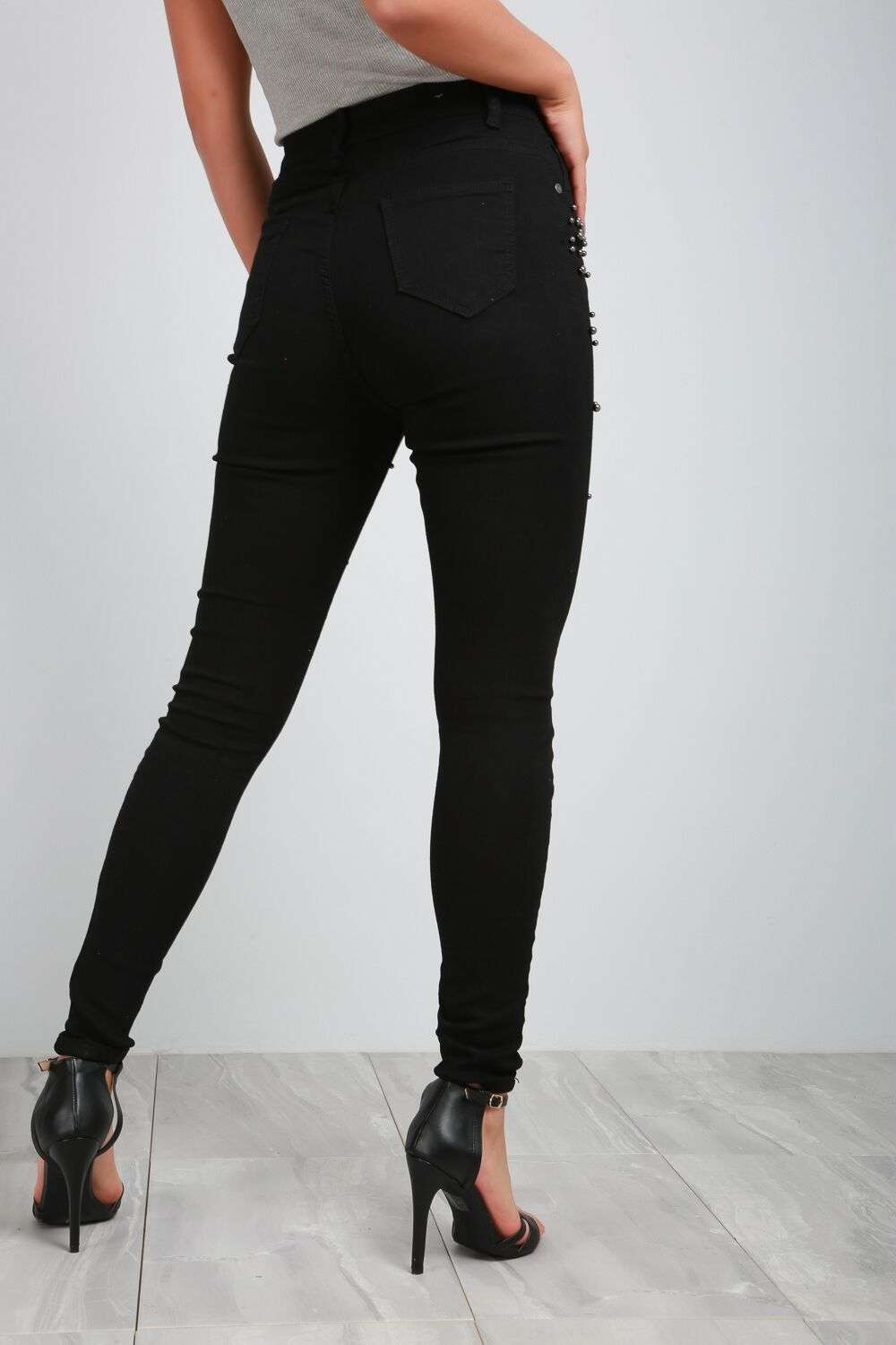 Elissa Black High Waisted Studded Skinny Jeans - bejealous-com